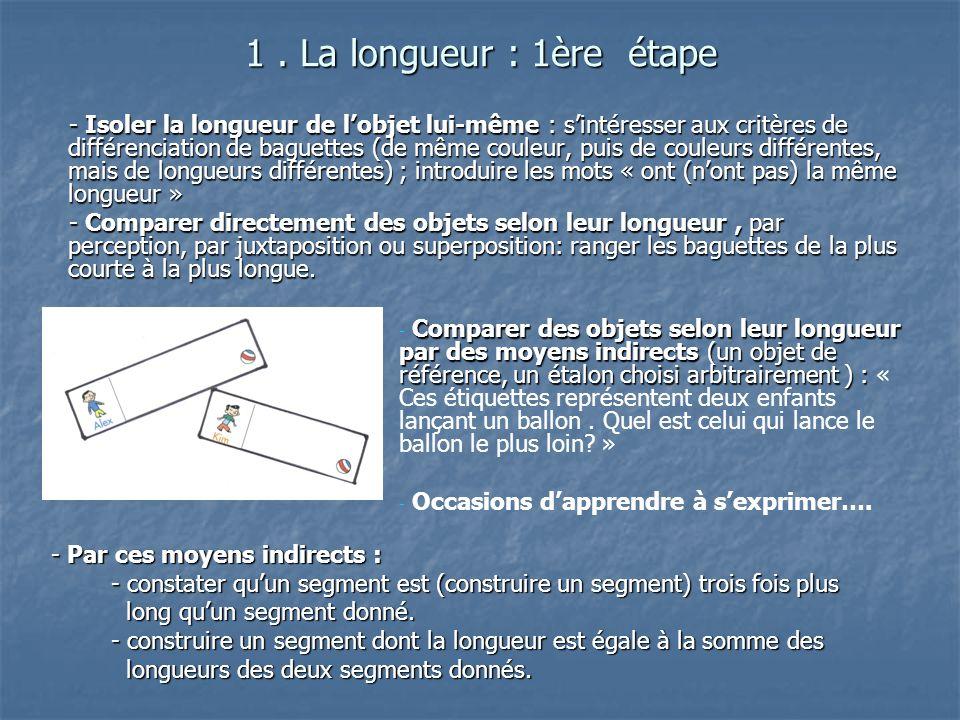 1. La longueur : 1ère étape - Isoler la longueur de lobjet lui-même : sintéresser aux critères de différenciation de baguettes (de même couleur, puis