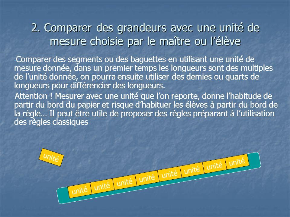 2. Comparer des grandeurs avec une unité de mesure choisie par le maître ou lélève - - Comparer des segments ou des baguettes en utilisant une unité d