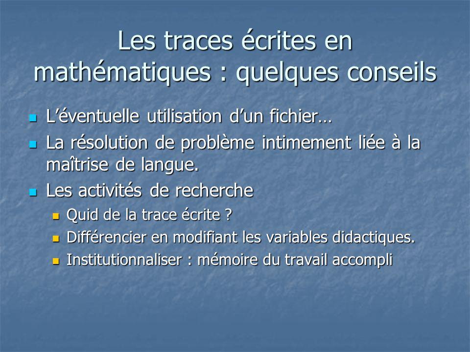 Les traces écrites en mathématiques : quelques conseils Léventuelle utilisation dun fichier… Léventuelle utilisation dun fichier… La résolution de pro