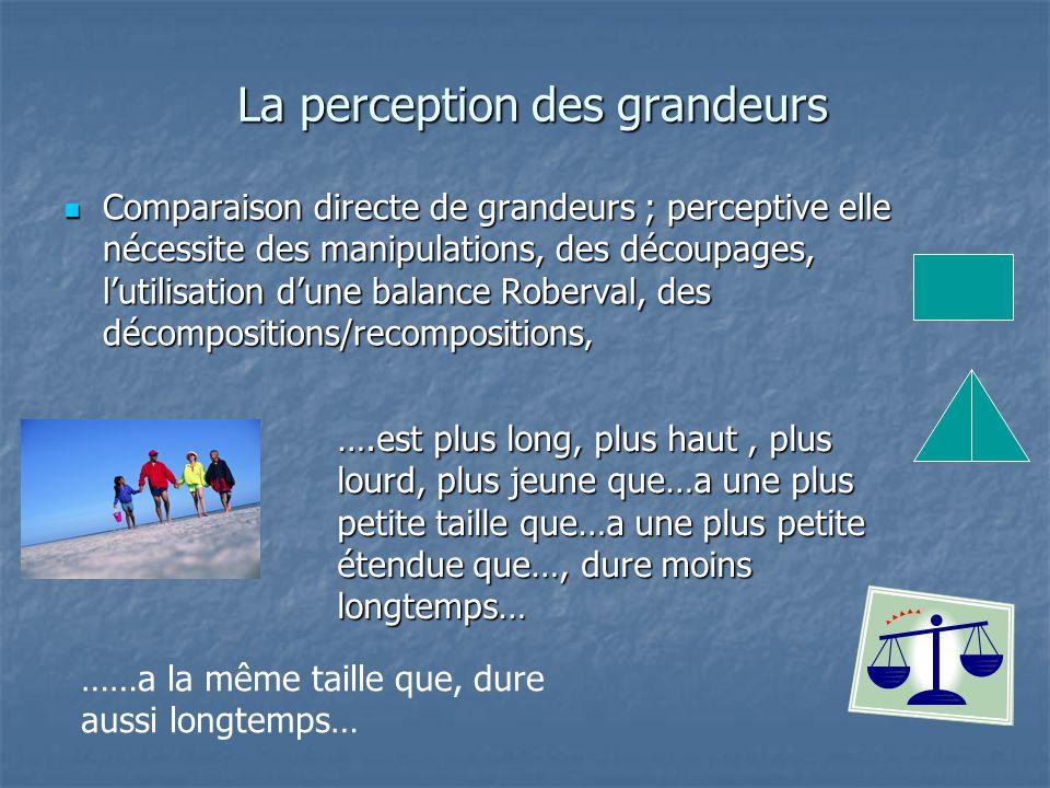 La perception des grandeurs La perception des grandeurs Comparaison directe de grandeurs ; perceptive elle nécessite des manipulations, des découpages