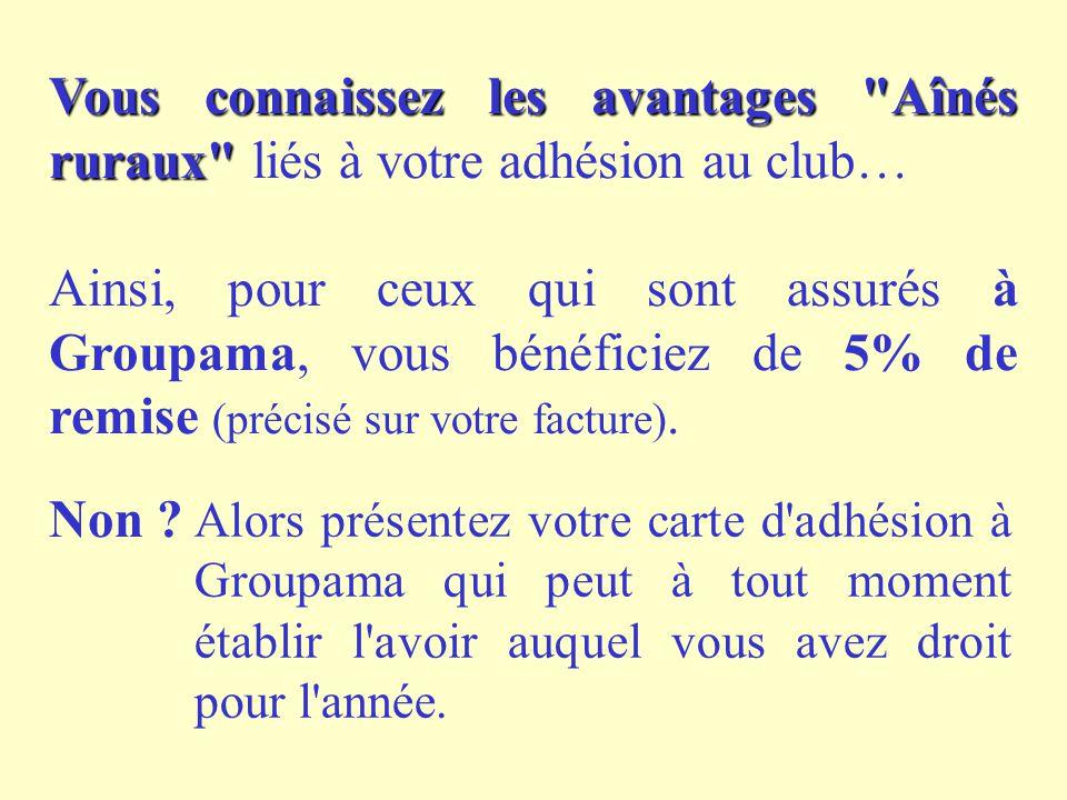 Vous connaissez les avantages Aînés ruraux Vous connaissez les avantages Aînés ruraux liés à votre adhésion au club… Ainsi, pour ceux qui sont assurés à Groupama, vous bénéficiez de 5% de remise (précisé sur votre facture).