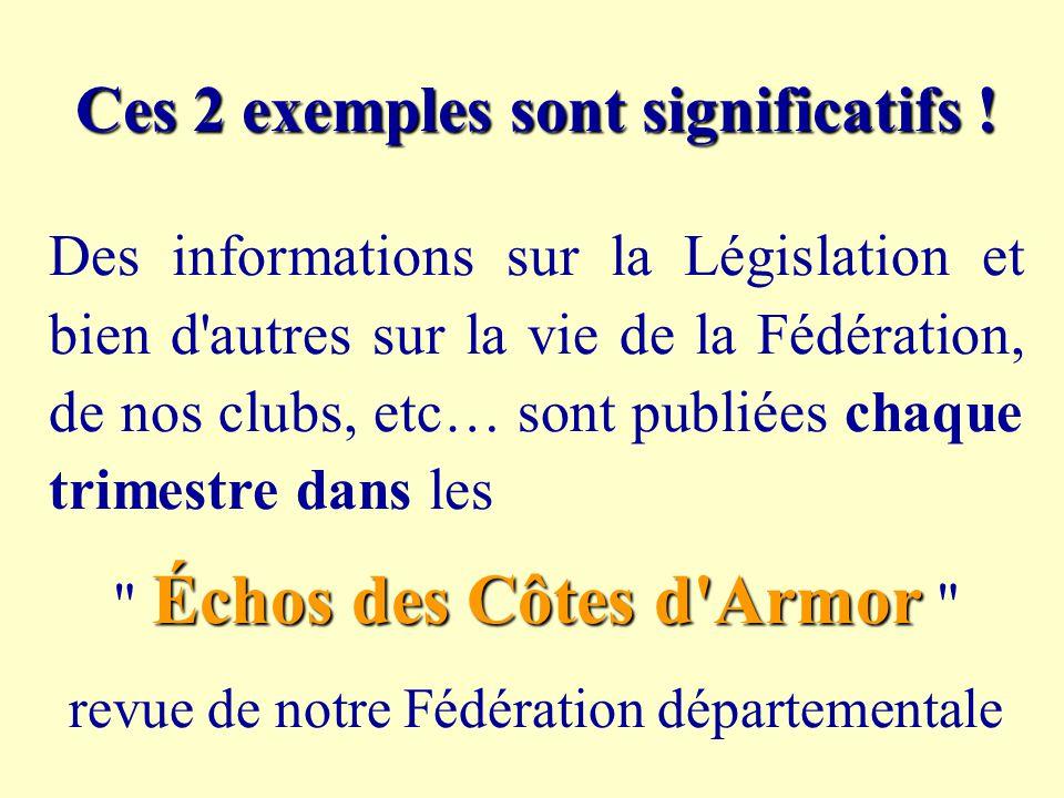 Ces 2 exemples sont significatifs ! Des informations sur la Législation et bien d'autres sur la vie de la Fédération, de nos clubs, etc… sont publiées