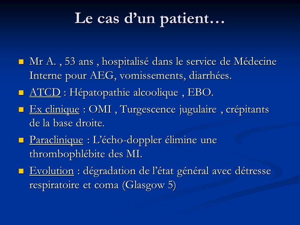 Le cas dun patient… Mr A., 53 ans, hospitalisé dans le service de Médecine Interne pour AEG, vomissements, diarrhées. Mr A., 53 ans, hospitalisé dans