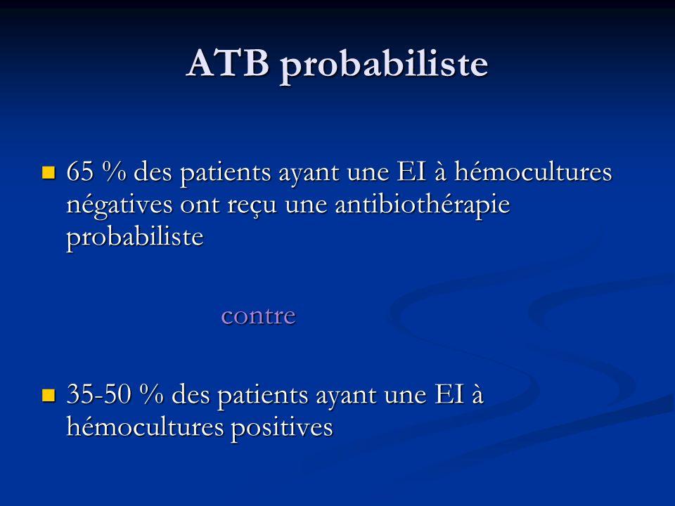 ATB probabiliste 65 % des patients ayant une EI à hémocultures négatives ont reçu une antibiothérapie probabiliste 65 % des patients ayant une EI à hé