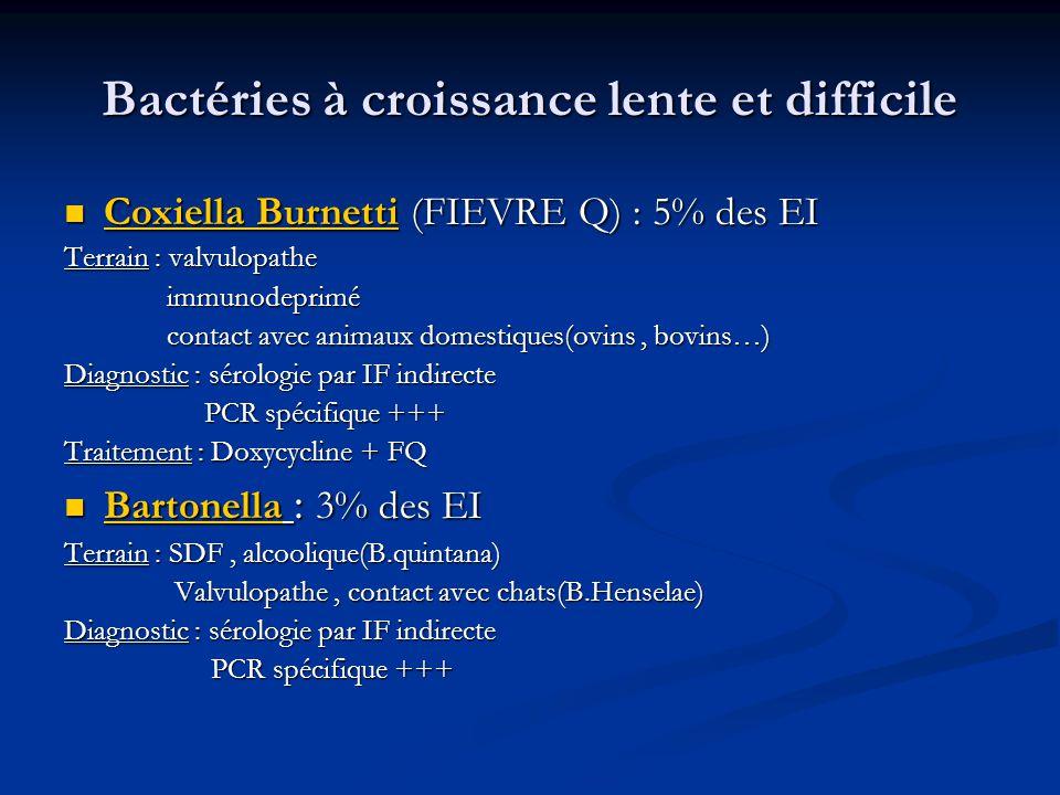 Bactéries à croissance lente et difficile Coxiella Burnetti (FIEVRE Q) : 5% des EI Coxiella Burnetti (FIEVRE Q) : 5% des EI Terrain : valvulopathe imm