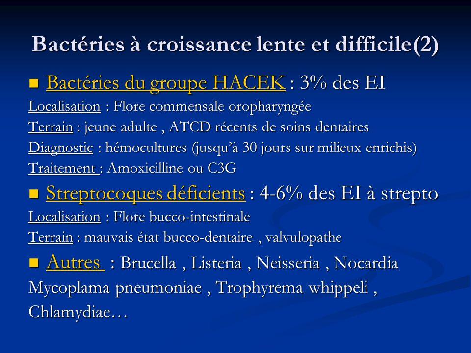 Bactéries à croissance lente et difficile(2) Bactéries du groupe HACEK : 3% des EI Bactéries du groupe HACEK : 3% des EI Localisation : Flore commensa