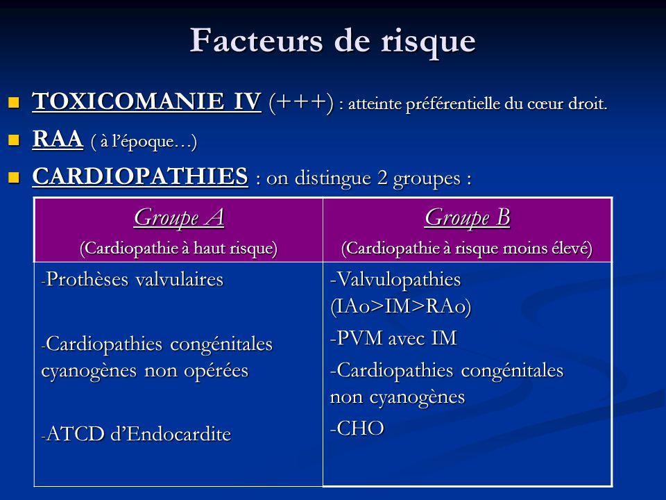 Facteurs de risque TOXICOMANIE IV (+++) : atteinte préférentielle du cœur droit. RAA ( à lépoque…) CARDIOPATHIES : on distingue 2 groupes : Groupe A (