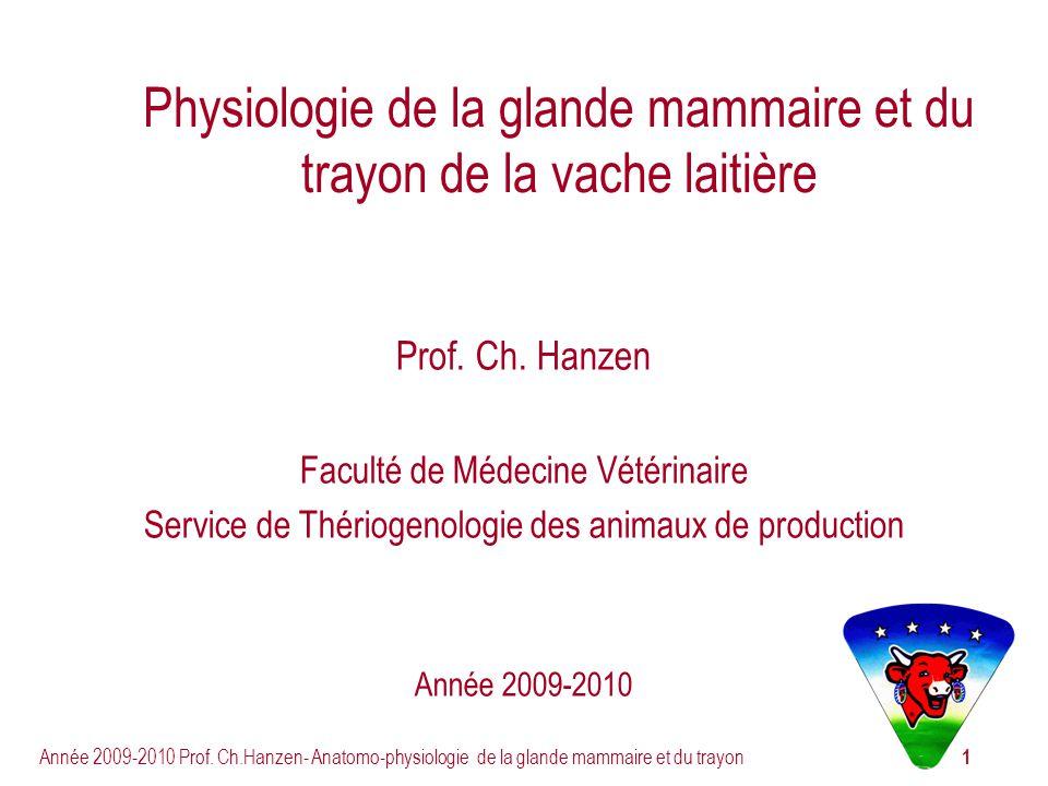 1 Année 2009-2010 Prof. Ch.Hanzen- Anatomo-physiologie de la glande mammaire et du trayon Physiologie de la glande mammaire et du trayon de la vache l