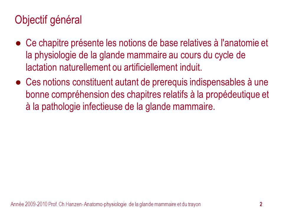 2 Année 2009-2010 Prof. Ch.Hanzen- Anatomo-physiologie de la glande mammaire et du trayon Objectif général Ce chapitre présente les notions de base re