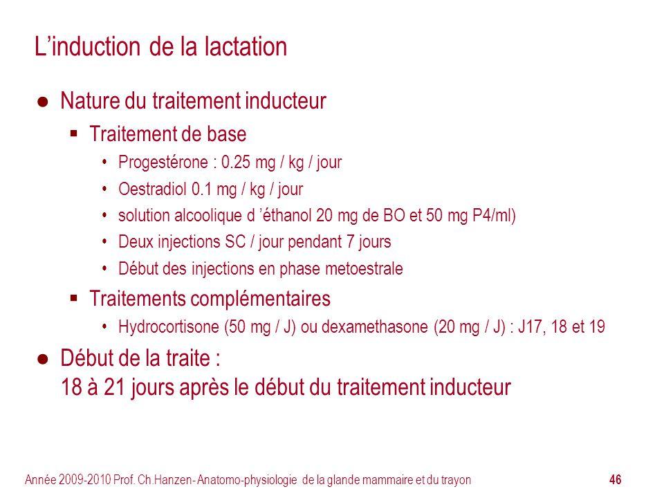 46 Année 2009-2010 Prof. Ch.Hanzen- Anatomo-physiologie de la glande mammaire et du trayon Linduction de la lactation Nature du traitement inducteur T