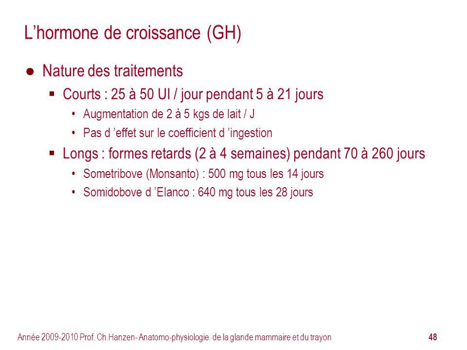 48 Année 2009-2010 Prof. Ch.Hanzen- Anatomo-physiologie de la glande mammaire et du trayon Lhormone de croissance (GH) Nature des traitements Courts :