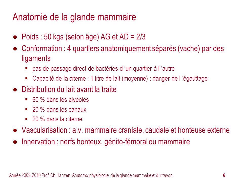 6 Année 2009-2010 Prof. Ch.Hanzen- Anatomo-physiologie de la glande mammaire et du trayon Anatomie de la glande mammaire Poids : 50 kgs (selon âge) AG
