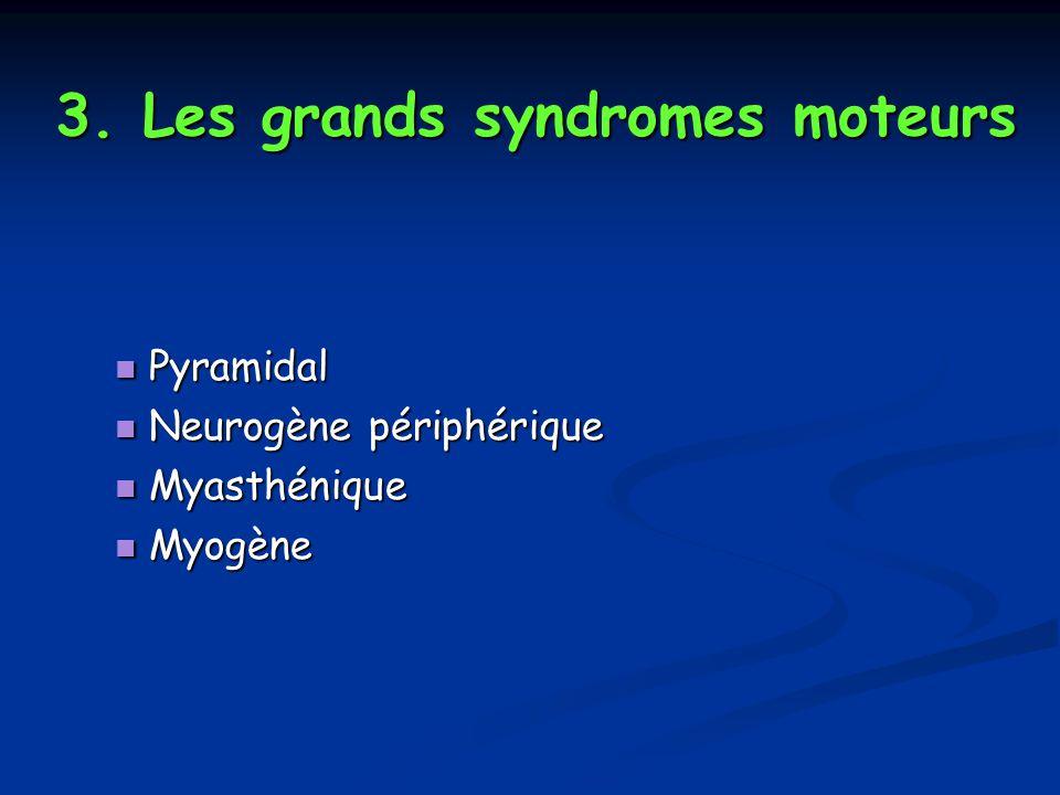 3. Les grands syndromes moteurs Pyramidal Pyramidal Neurogène périphérique Neurogène périphérique Myasthénique Myasthénique Myogène Myogène