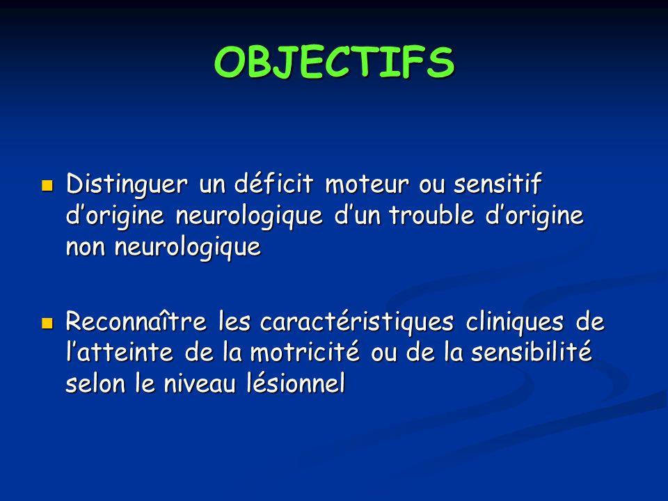 OBJECTIFS Distinguer un déficit moteur ou sensitif dorigine neurologique dun trouble dorigine non neurologique Distinguer un déficit moteur ou sensiti