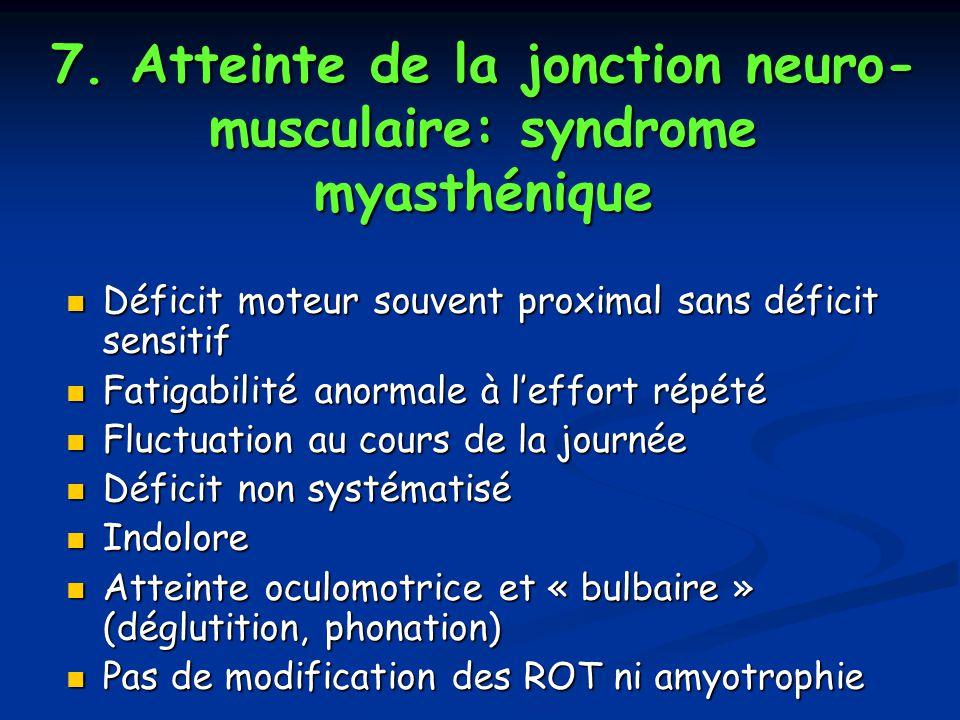 7. Atteinte de la jonction neuro- musculaire: syndrome myasthénique Déficit moteur souvent proximal sans déficit sensitif Déficit moteur souvent proxi