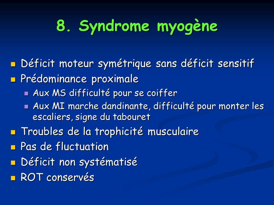 8. Syndrome myogène Déficit moteur symétrique sans déficit sensitif Déficit moteur symétrique sans déficit sensitif Prédominance proximale Prédominanc