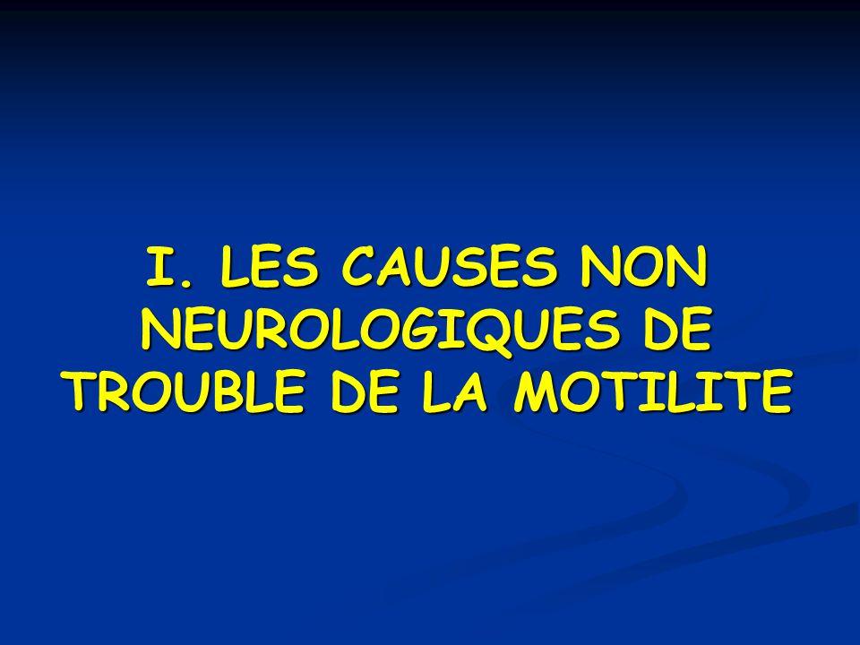 I. LES CAUSES NON NEUROLOGIQUES DE TROUBLE DE LA MOTILITE