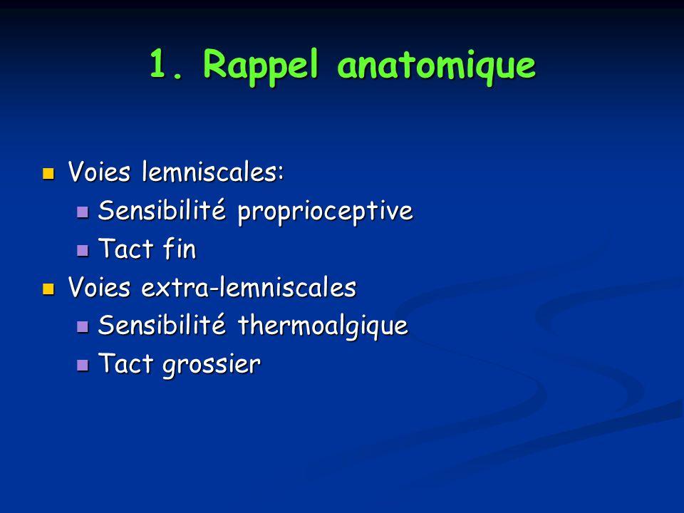 1. Rappel anatomique Voies lemniscales: Voies lemniscales: Sensibilité proprioceptive Sensibilité proprioceptive Tact fin Tact fin Voies extra-lemnisc