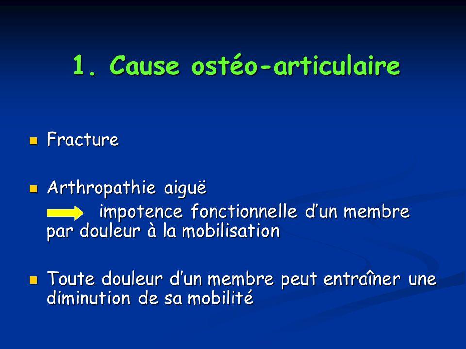 1. Cause ostéo-articulaire Fracture Fracture Arthropathie aiguë Arthropathie aiguë impotence fonctionnelle dun membre par douleur à la mobilisation im