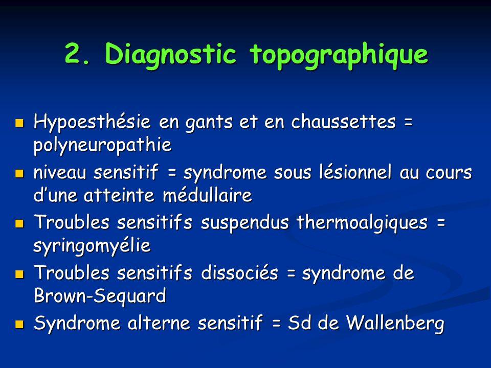 2. Diagnostic topographique Hypoesthésie en gants et en chaussettes = polyneuropathie Hypoesthésie en gants et en chaussettes = polyneuropathie niveau