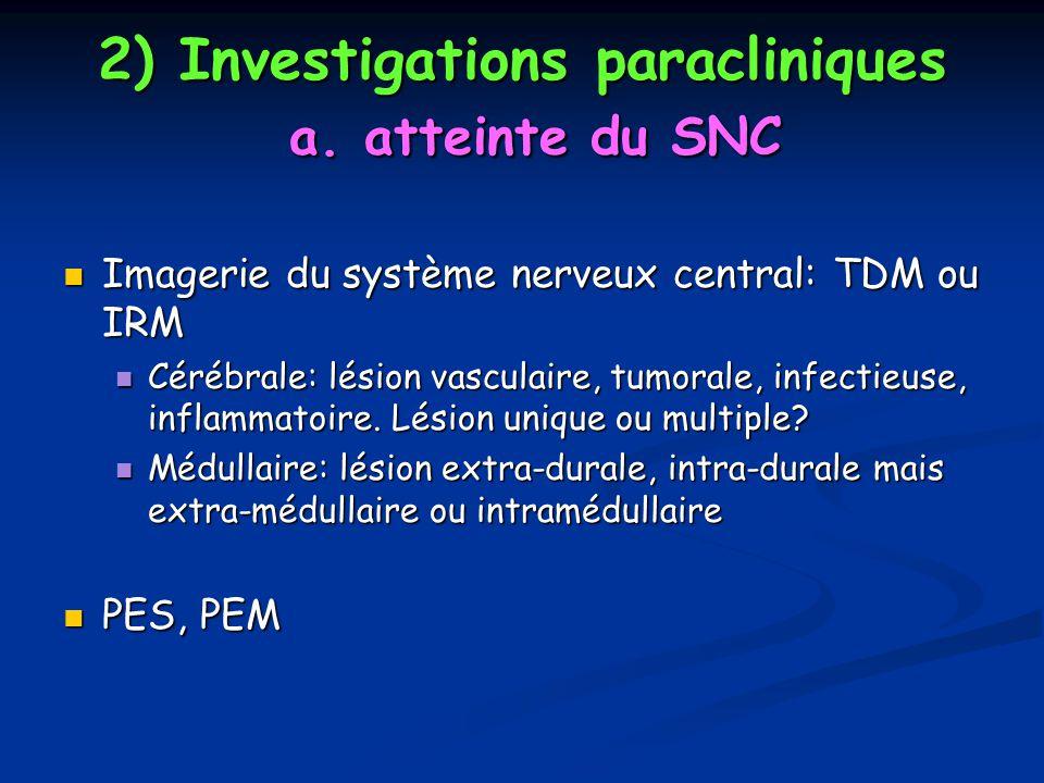 2) Investigations paracliniques a. atteinte du SNC Imagerie du système nerveux central: TDM ou IRM Imagerie du système nerveux central: TDM ou IRM Cér