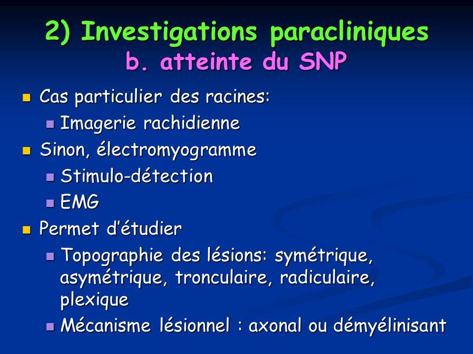 2) Investigations paracliniques b. atteinte du SNP Cas particulier des racines: Cas particulier des racines: Imagerie rachidienne Imagerie rachidienne