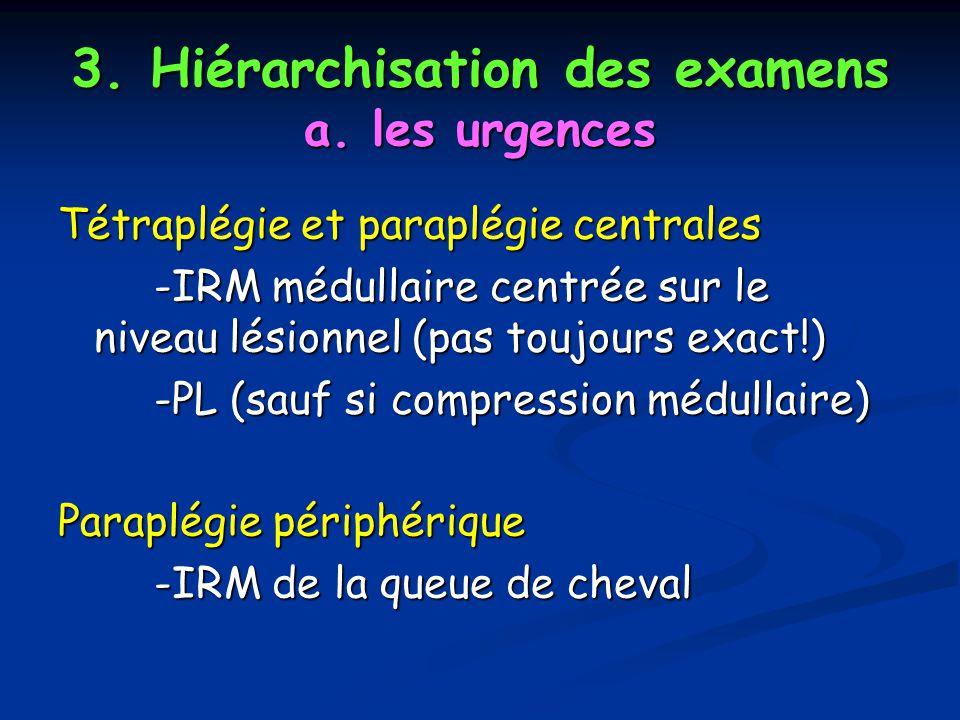 3. Hiérarchisation des examens a. les urgences Tétraplégie et paraplégie centrales -IRM médullaire centrée sur le niveau lésionnel (pas toujours exact