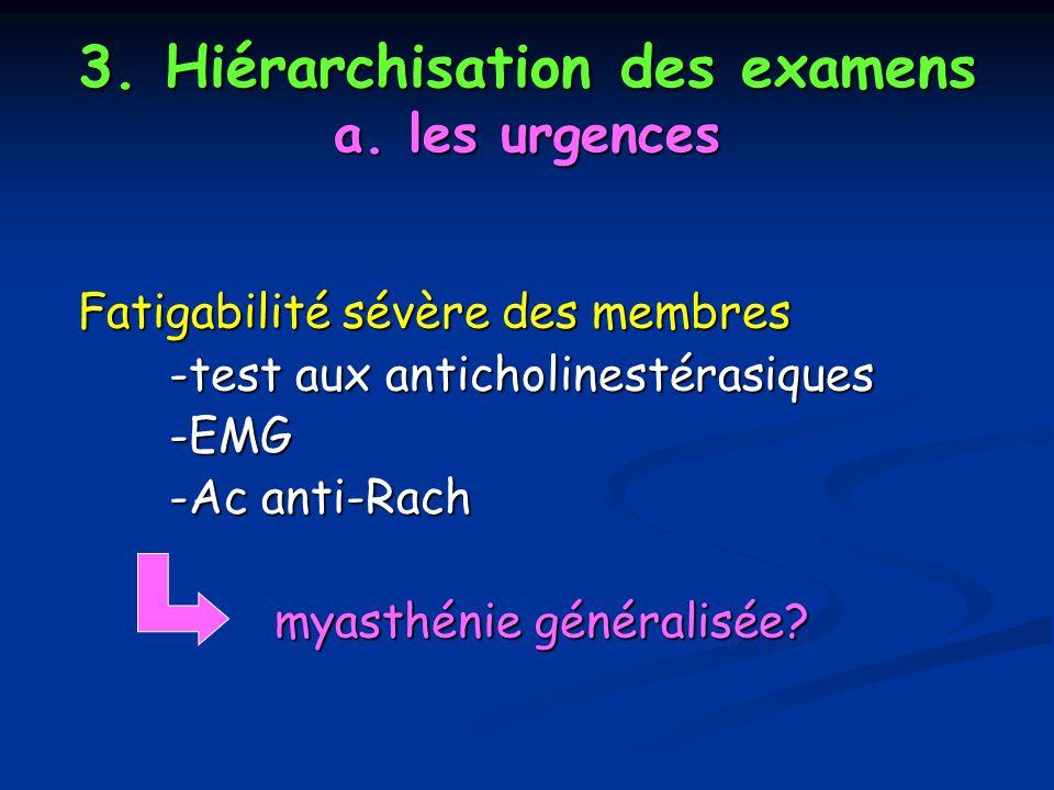 3. Hiérarchisation des examens a. les urgences Fatigabilité sévère des membres Fatigabilité sévère des membres -test aux anticholinestérasiques -EMG -