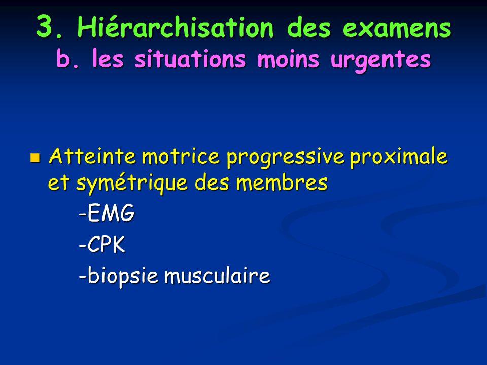 3. Hiérarchisation des examens b. les situations moins urgentes Atteinte motrice progressive proximale et symétrique des membres Atteinte motrice prog