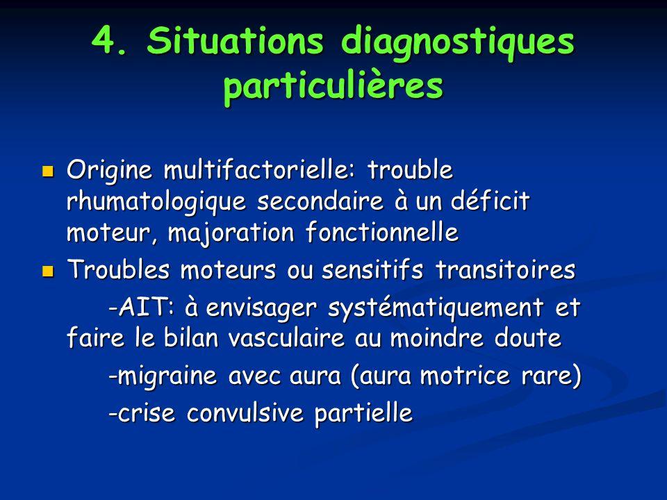 4. Situations diagnostiques particulières Origine multifactorielle: trouble rhumatologique secondaire à un déficit moteur, majoration fonctionnelle Or