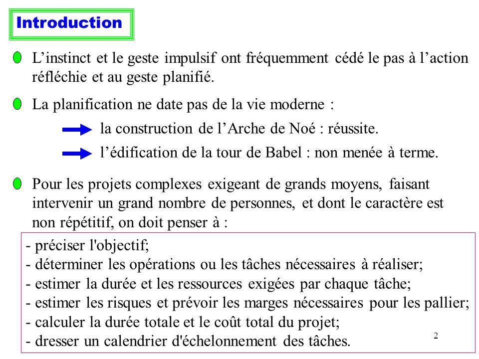 43 Exemple (suite) : La durée du programme étant inchangée, il suffit de diminuer la marge libre des opérations non critiques pour diminuer le coût total.