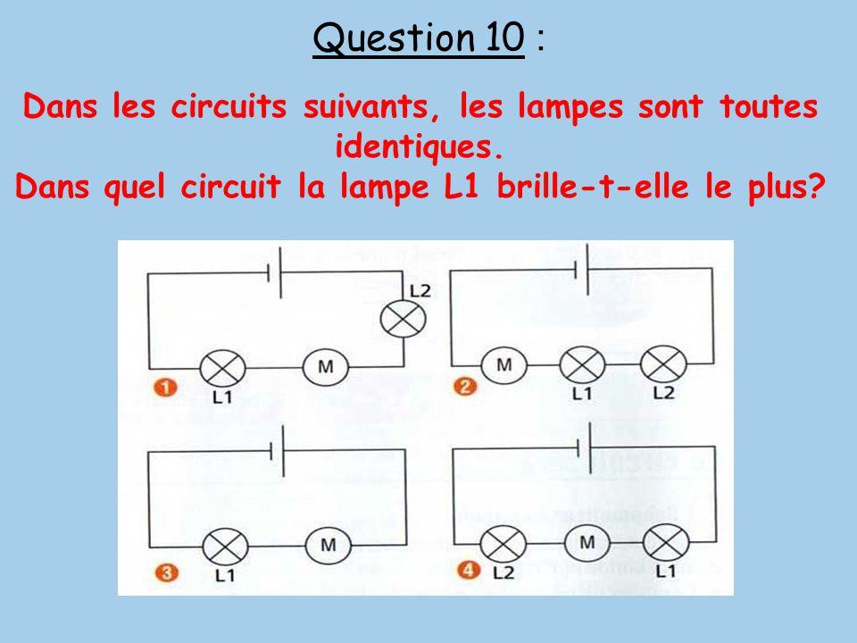Question 10 : Dans les circuits suivants, les lampes sont toutes identiques. Dans quel circuit la lampe L1 brille-t-elle le plus?