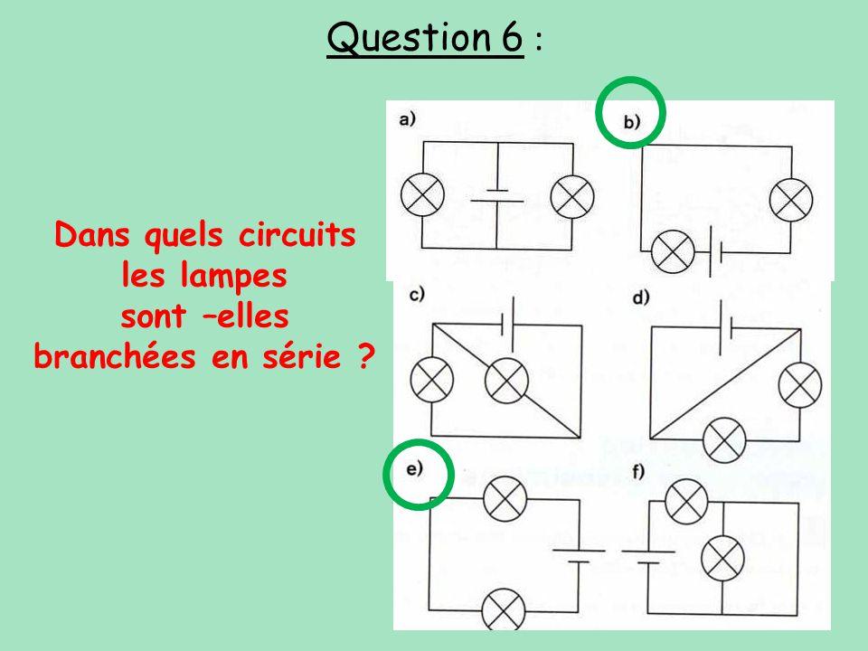 Question 6 : Dans quels circuits les lampes sont –elles branchées en série ?