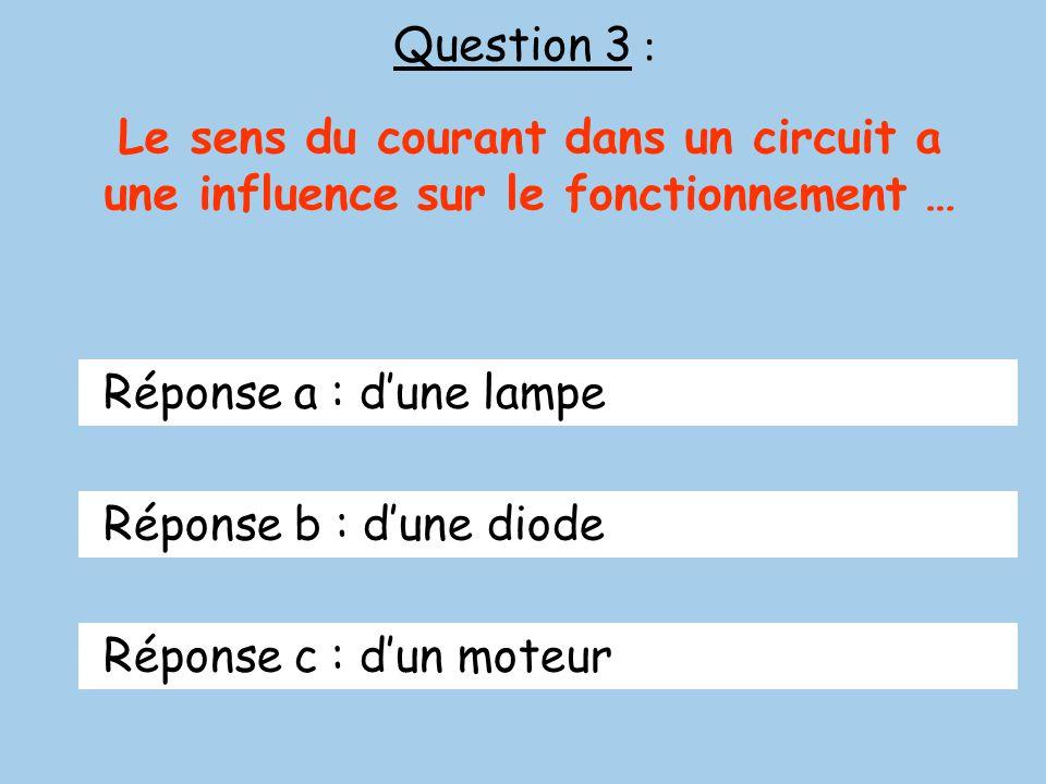 Question 3 : Le sens du courant dans un circuit a une influence sur le fonctionnement … Réponse a : dune lampe Réponse b : dune diode Réponse c : dun