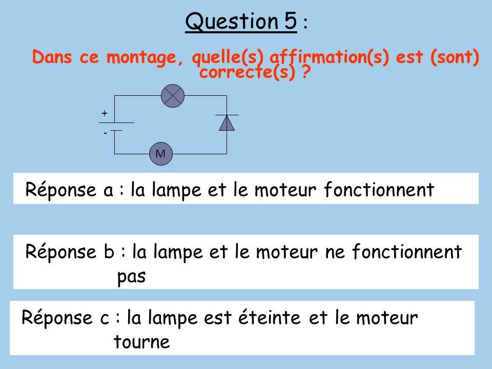 Question 5 : Dans ce montage, quelle(s) affirmation(s) est (sont) correcte(s) ? Réponse a : la lampe et le moteur fonctionnent Réponse b : la lampe et