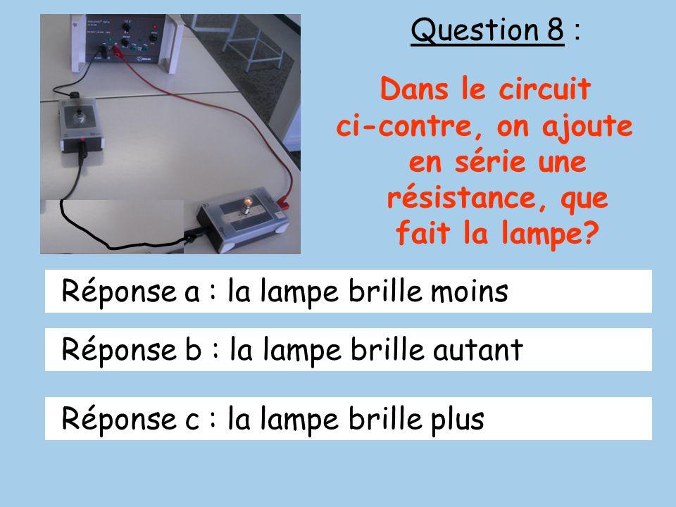 Question 8 : Dans le circuit ci-contre, on ajoute en série une résistance, que fait la lampe? Réponse a : la lampe brille moins Réponse b : la lampe b