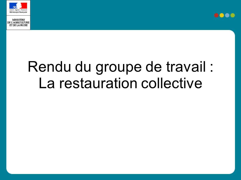 Rendu du groupe de travail : La restauration collective