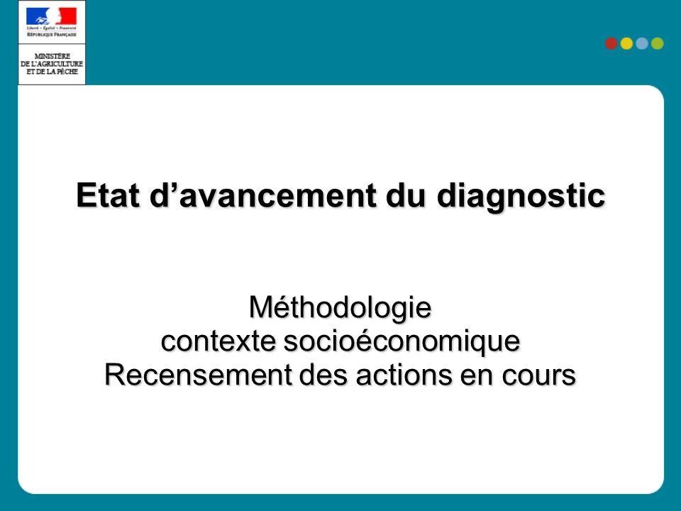 Etat davancement du diagnostic Méthodologie contexte socioéconomique Recensement des actions en cours