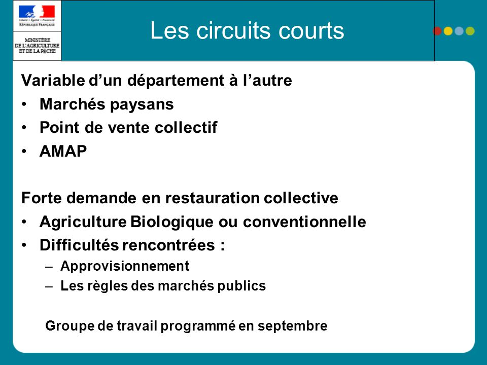 Les circuits courts Variable dun département à lautre Marchés paysans Point de vente collectif AMAP Forte demande en restauration collective Agricultu