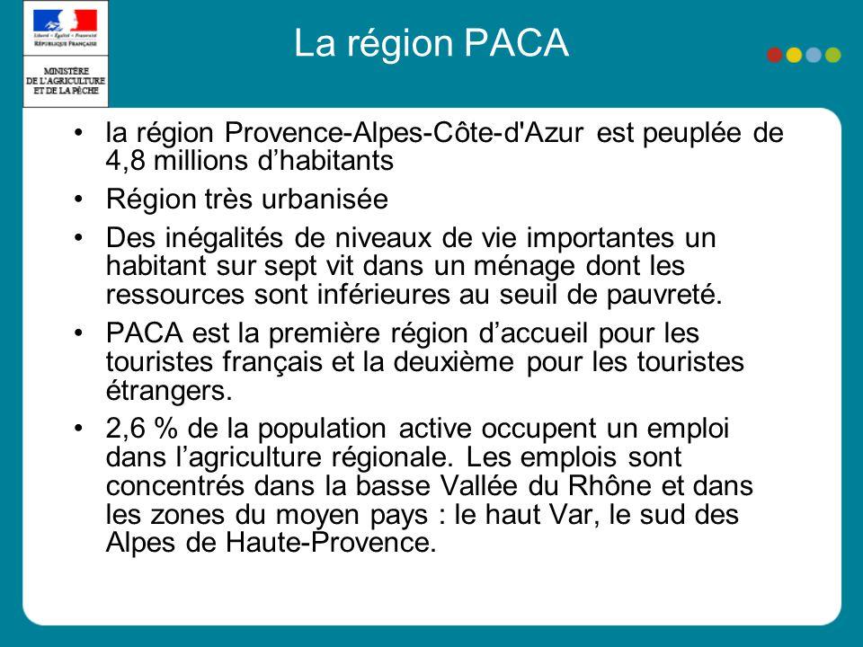 La région PACA la région Provence-Alpes-Côte-d Azur est peuplée de 4,8 millions dhabitants Région très urbanisée Des inégalités de niveaux de vie importantes un habitant sur sept vit dans un ménage dont les ressources sont inférieures au seuil de pauvreté.