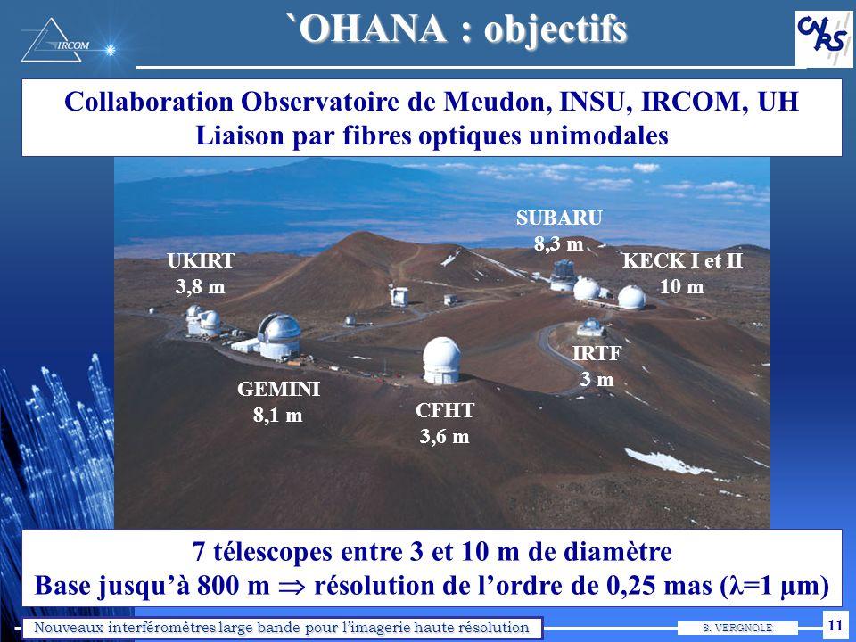 Nouveaux interféromètres large bande pour limagerie haute résolution S. VERGNOLE 11 UKIRT 3,8 m GEMINI 8,1 m CFHT 3,6 m KECK I et II 10 m SUBARU 8,3 m