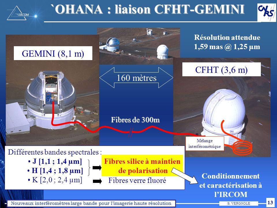 Nouveaux interféromètres large bande pour limagerie haute résolution S. VERGNOLE 13 160 mètres GEMINI (8,1 m) CFHT (3,6 m) Différentes bandes spectral