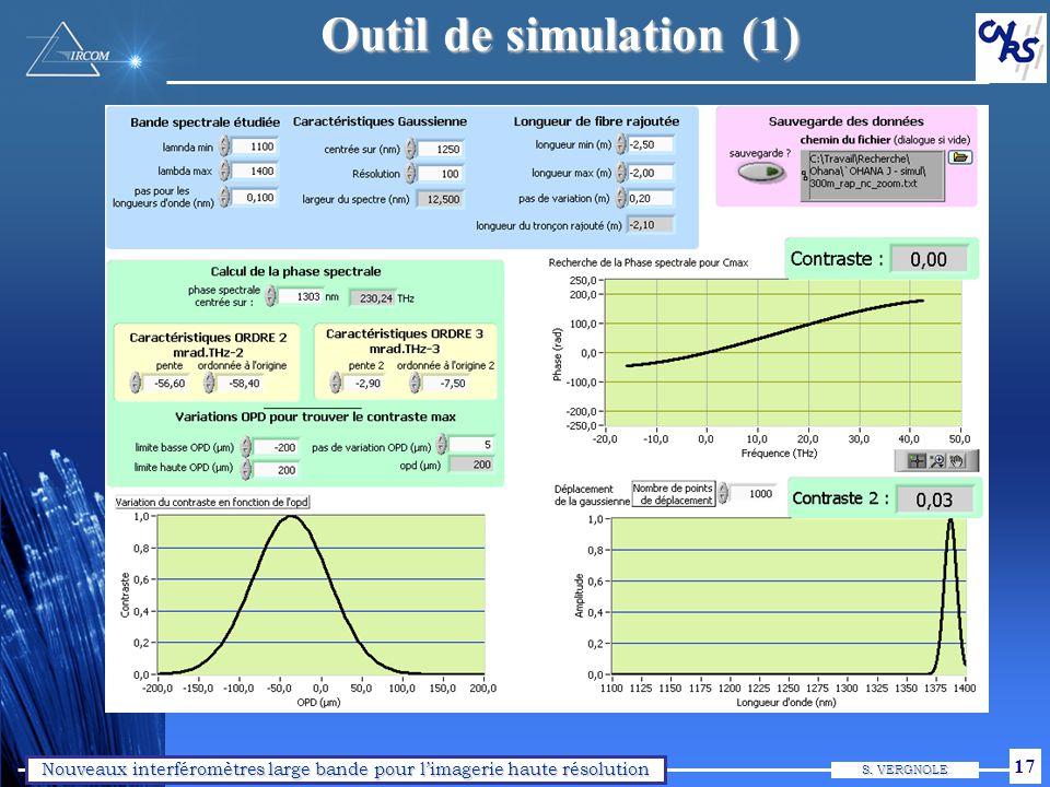 Nouveaux interféromètres large bande pour limagerie haute résolution S. VERGNOLE 17 Outil de simulation (1)