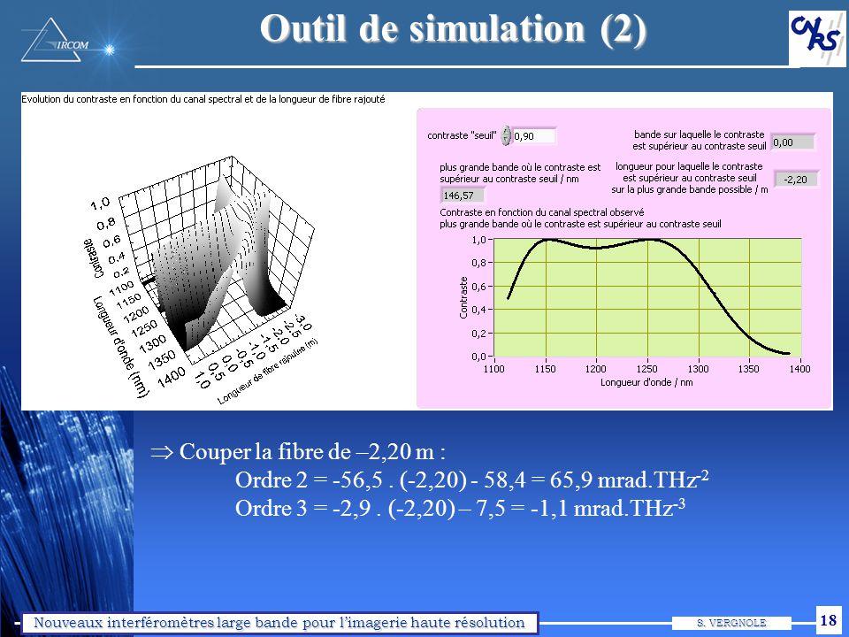 Nouveaux interféromètres large bande pour limagerie haute résolution S. VERGNOLE 18 Outil de simulation (2) Couper la fibre de –2,20 m : Ordre 2 = -56