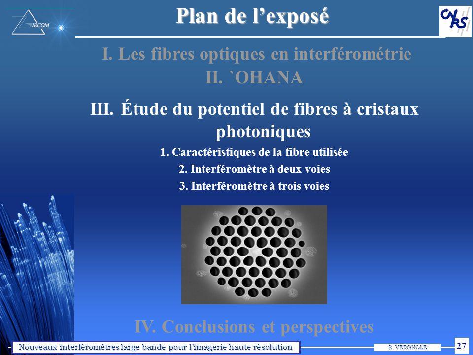 Nouveaux interféromètres large bande pour limagerie haute résolution S. VERGNOLE 27 Plan de lexposé I. Les fibres optiques en interférométrie II. `OHA