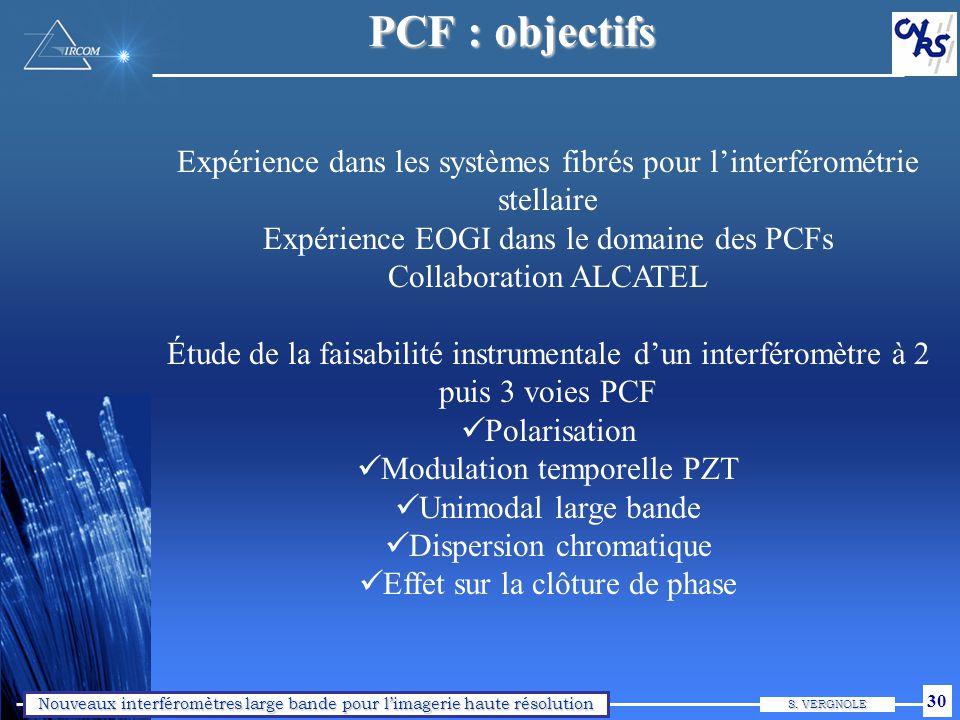 Nouveaux interféromètres large bande pour limagerie haute résolution S. VERGNOLE 30 PCF : objectifs Expérience dans les systèmes fibrés pour linterfér