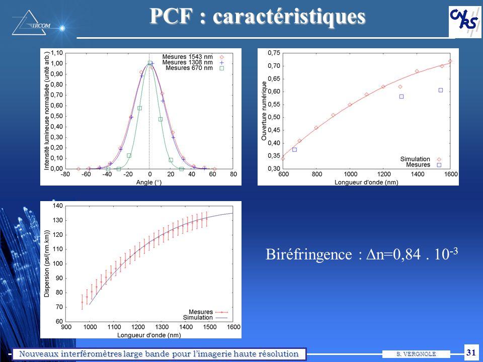 Nouveaux interféromètres large bande pour limagerie haute résolution S. VERGNOLE 31 PCF : caractéristiques Biréfringence : n=0,84. 10 -3