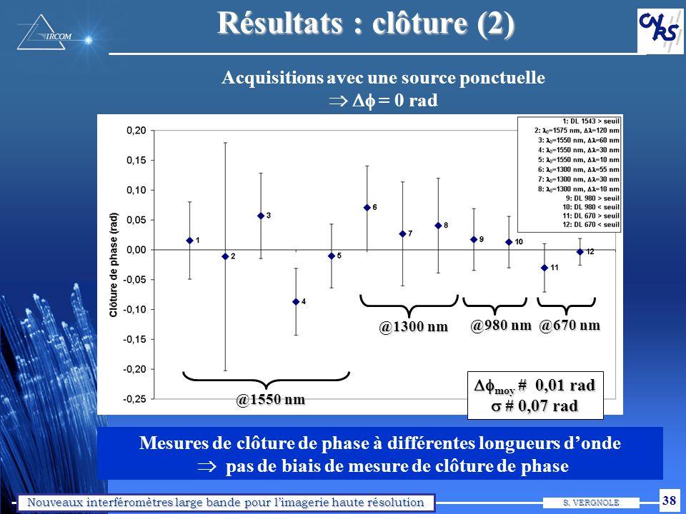 Nouveaux interféromètres large bande pour limagerie haute résolution S. VERGNOLE 38 Résultats : clôture (2) Mesures de clôture de phase à différentes