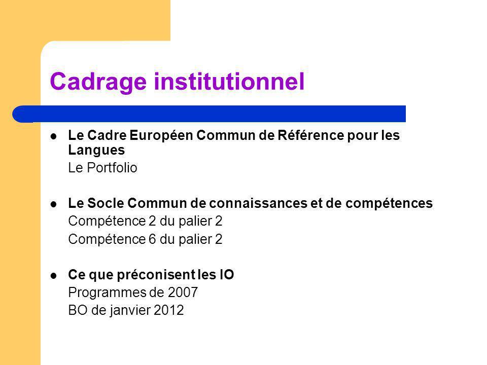 Cadrage institutionnel Le Cadre Européen Commun de Référence pour les Langues Le Portfolio Le Socle Commun de connaissances et de compétences Compéten
