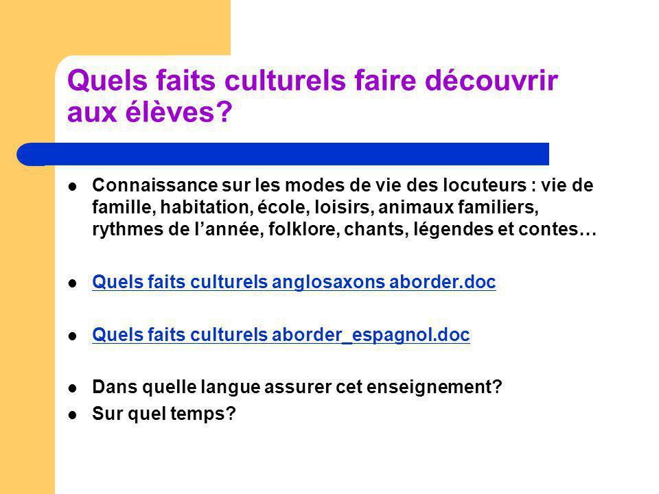 Quels faits culturels faire découvrir aux élèves? Connaissance sur les modes de vie des locuteurs : vie de famille, habitation, école, loisirs, animau
